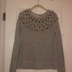 Sweatshirt with gem neckline